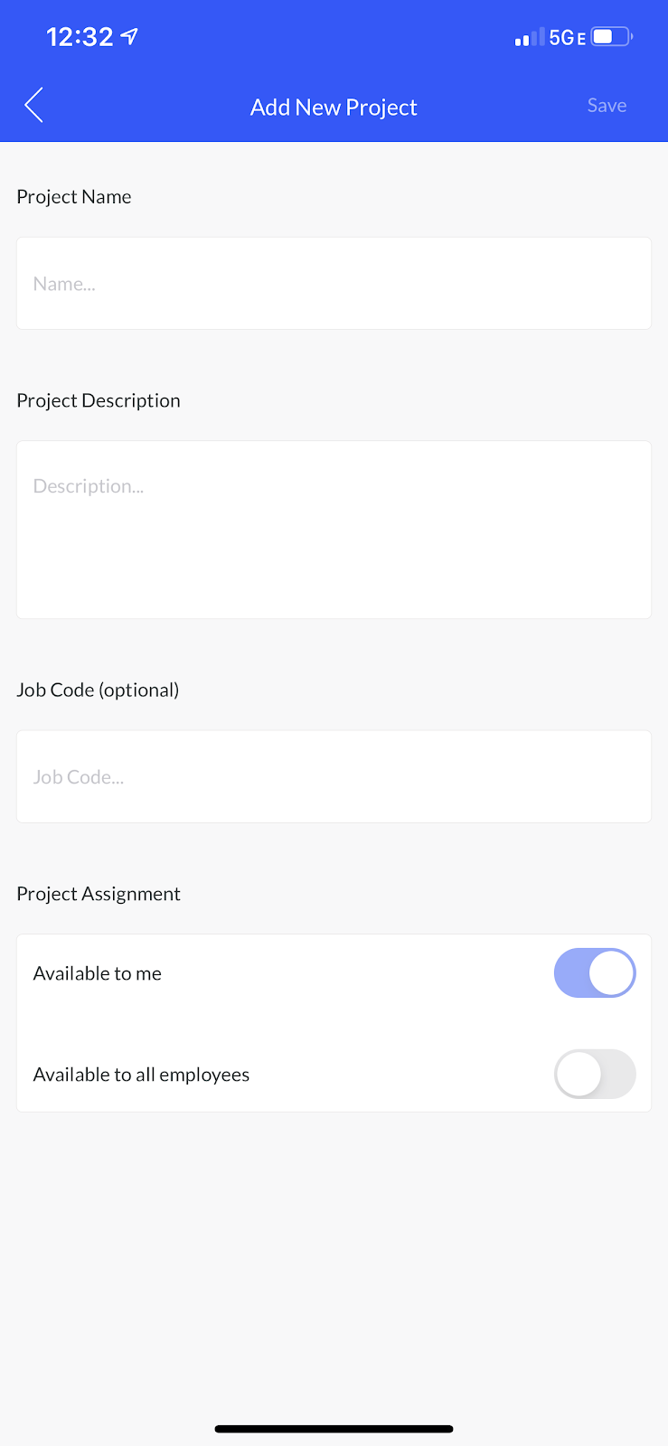 Screenshot showing the Add New Project screen