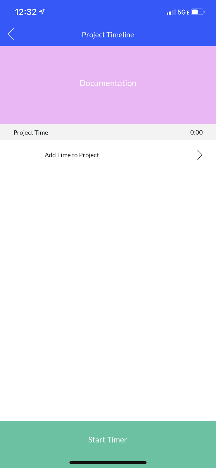 Screenshot showing the Project Timeline screen