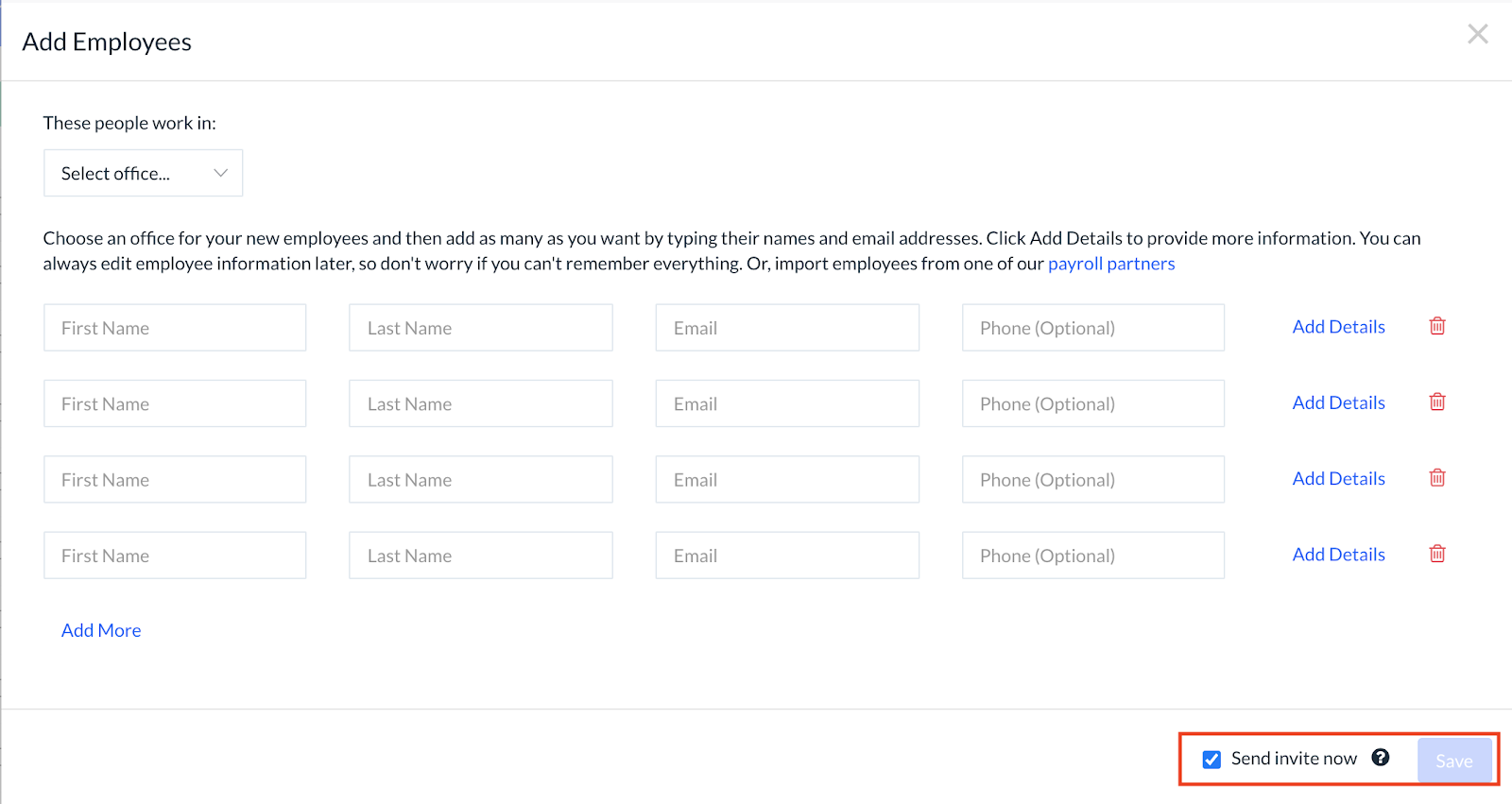 Screenshot showing the default invitation email sent to employees, and how you can change notification settings