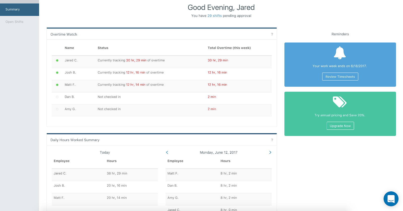 Screenshot showing the Summary Dashboard
