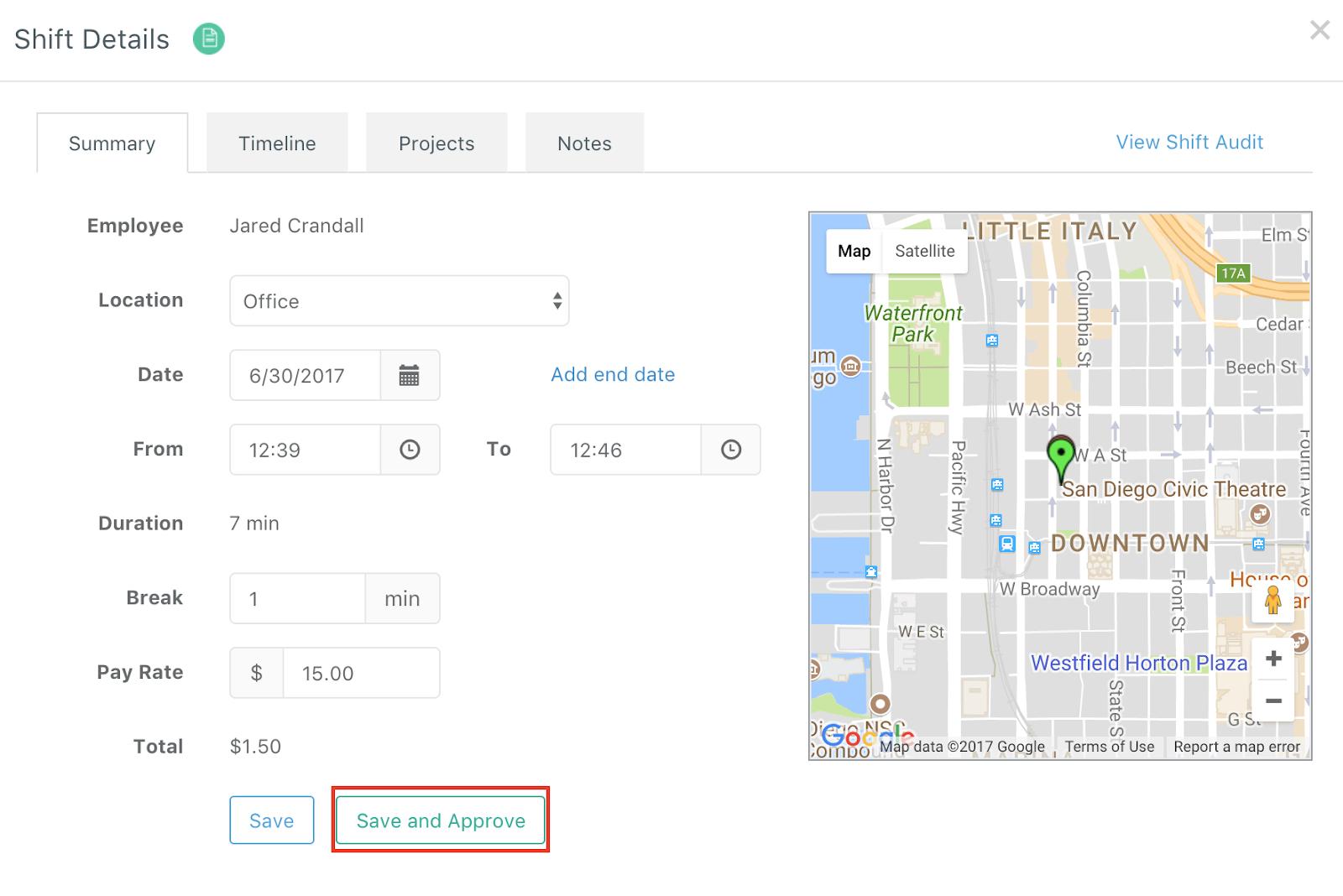 Screenshot showing how to approve pending shifts