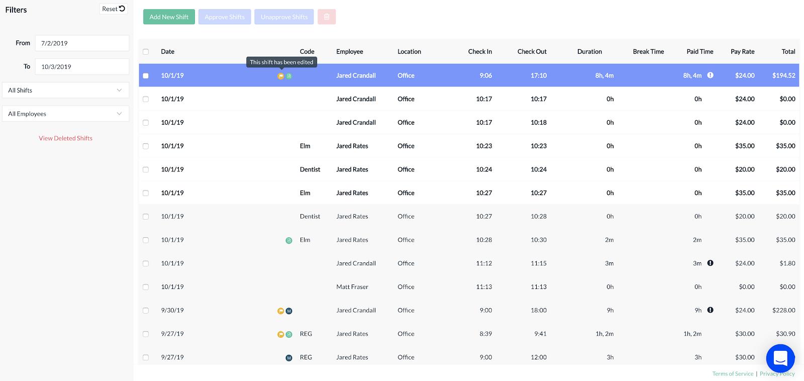 Screenshot showing the Manage Shifts screen
