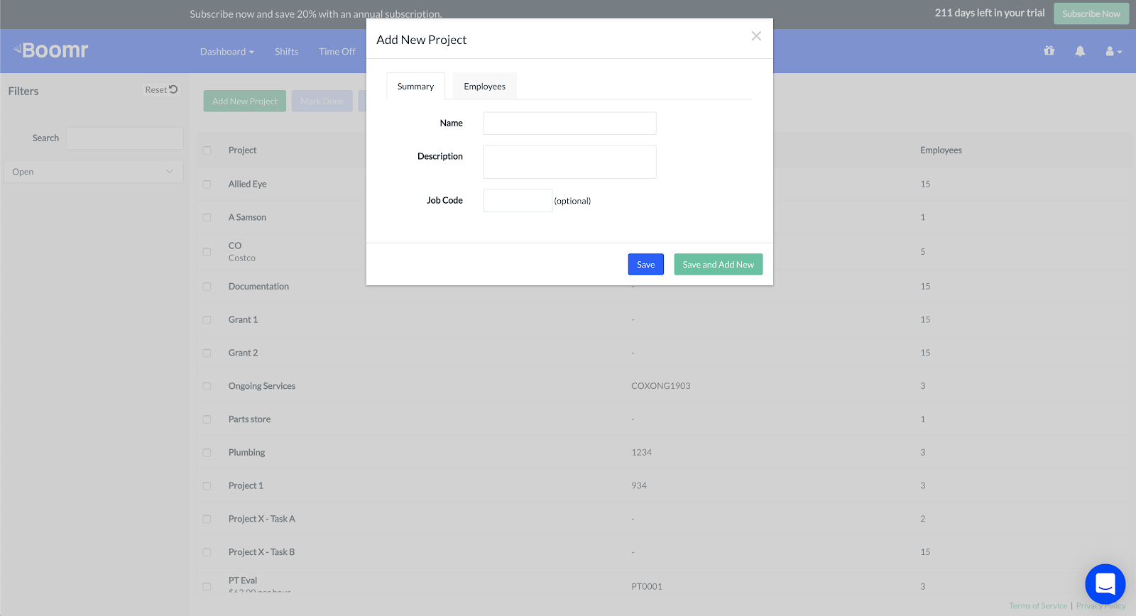 Screenshot showing the new window that will appear asking for details of your project