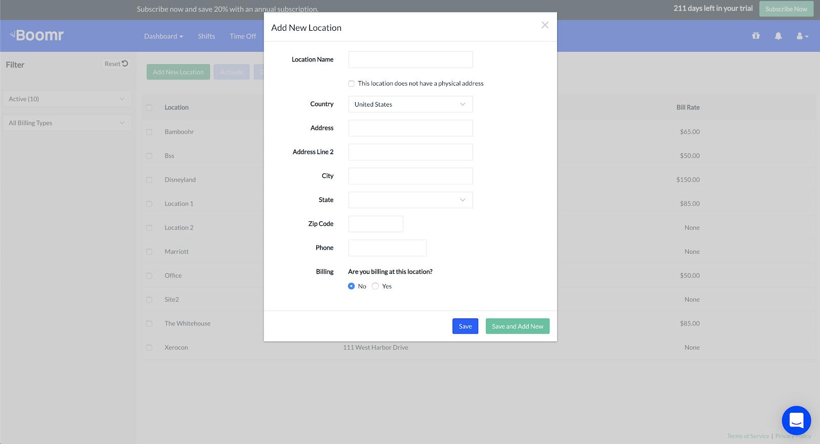 Screenshot showing the 'Add New Location' screen