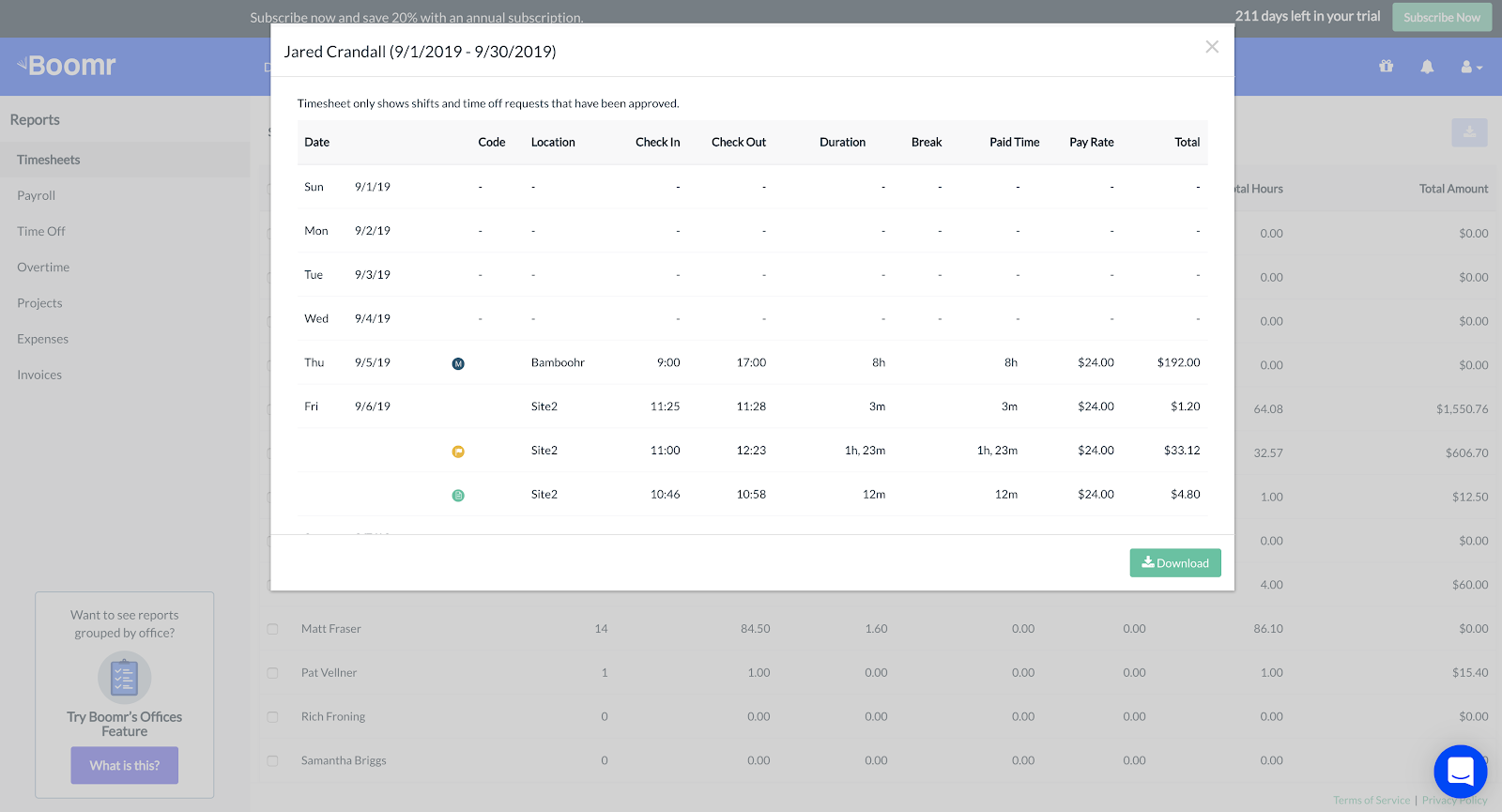 Screenshot showing the generated timesheets with all approved shifts for a specified date range