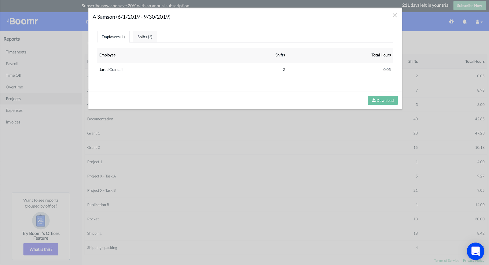 Screenshot showing how to specify a date range and export a report within the Projects report dashboard