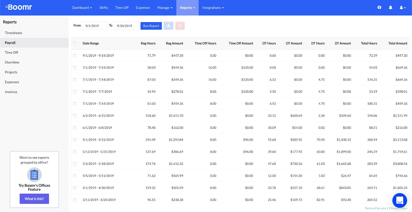 Screenshot showing the Payroll report main dashboard