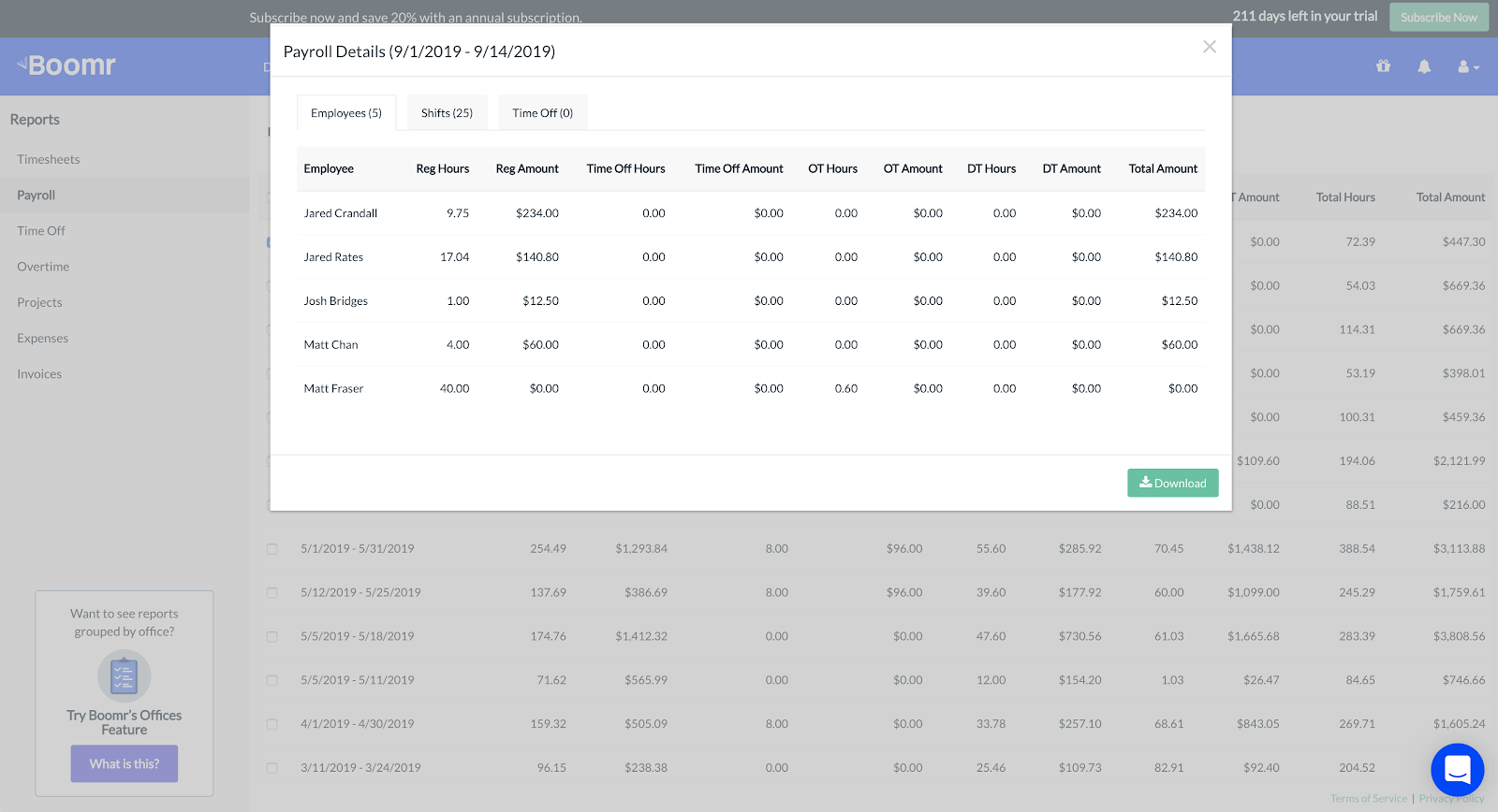 Screenshot showing the payroll details of your report