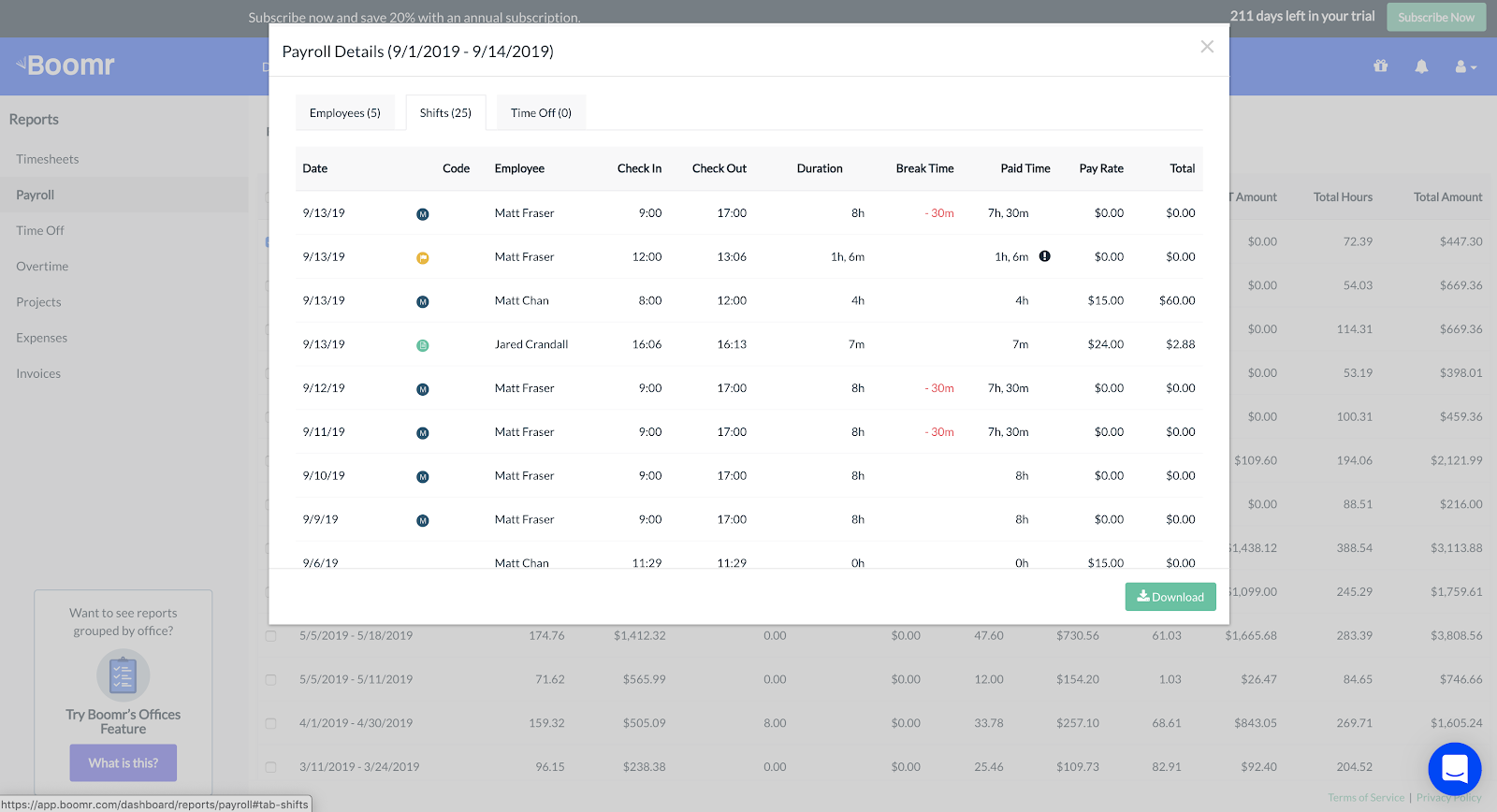 Screenshot showing how to view a Payroll Detail report of each shift for the pay period