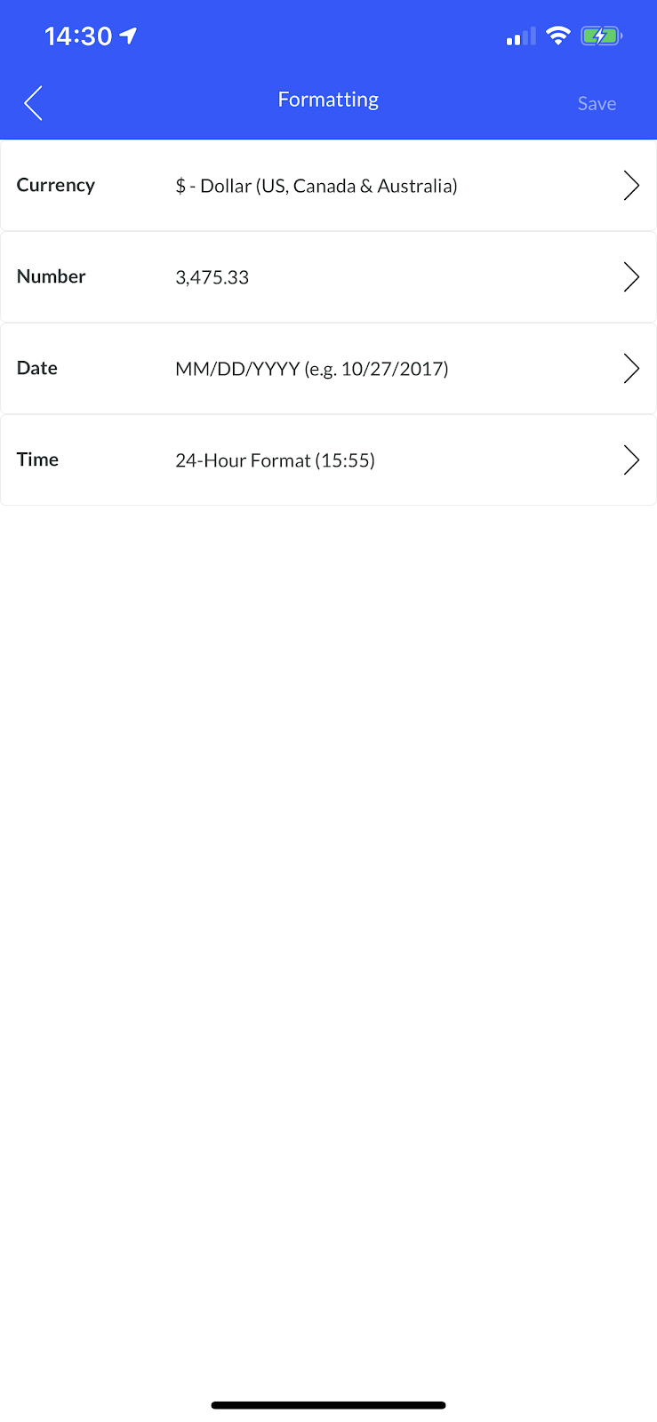 Screenshot showing the 'Formatting' screen where you adjust the appearance of currency, numbers, dates, and times within Justworks Hours