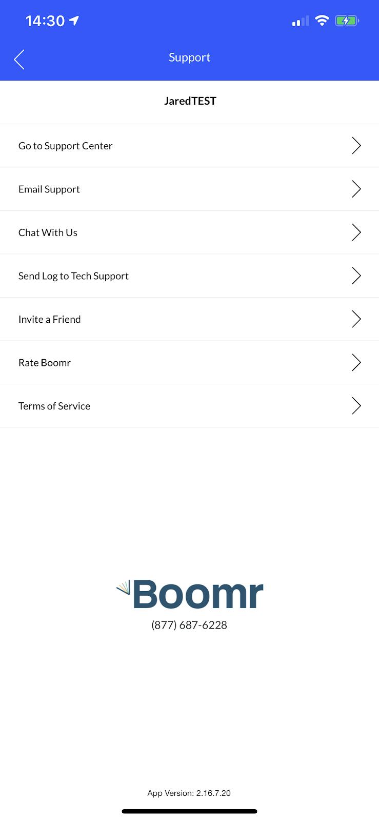 Screenshot showing the 'Support' screen
