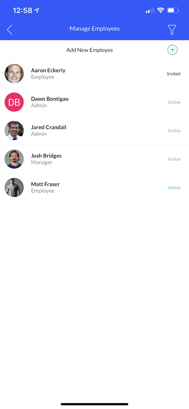 Screenshot showing how to add a new employee by tapping on 'Add New Employee'