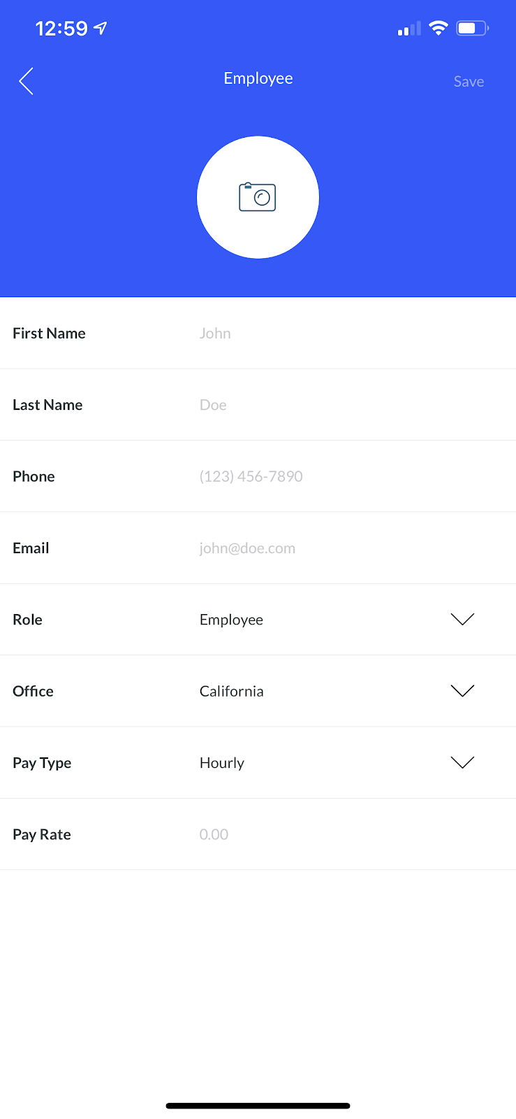 Screenshot showing the Employee screen where you can add details about your new employee