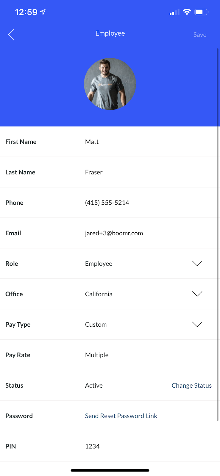 Screenshot showing how to save your employee information in the Employee screen