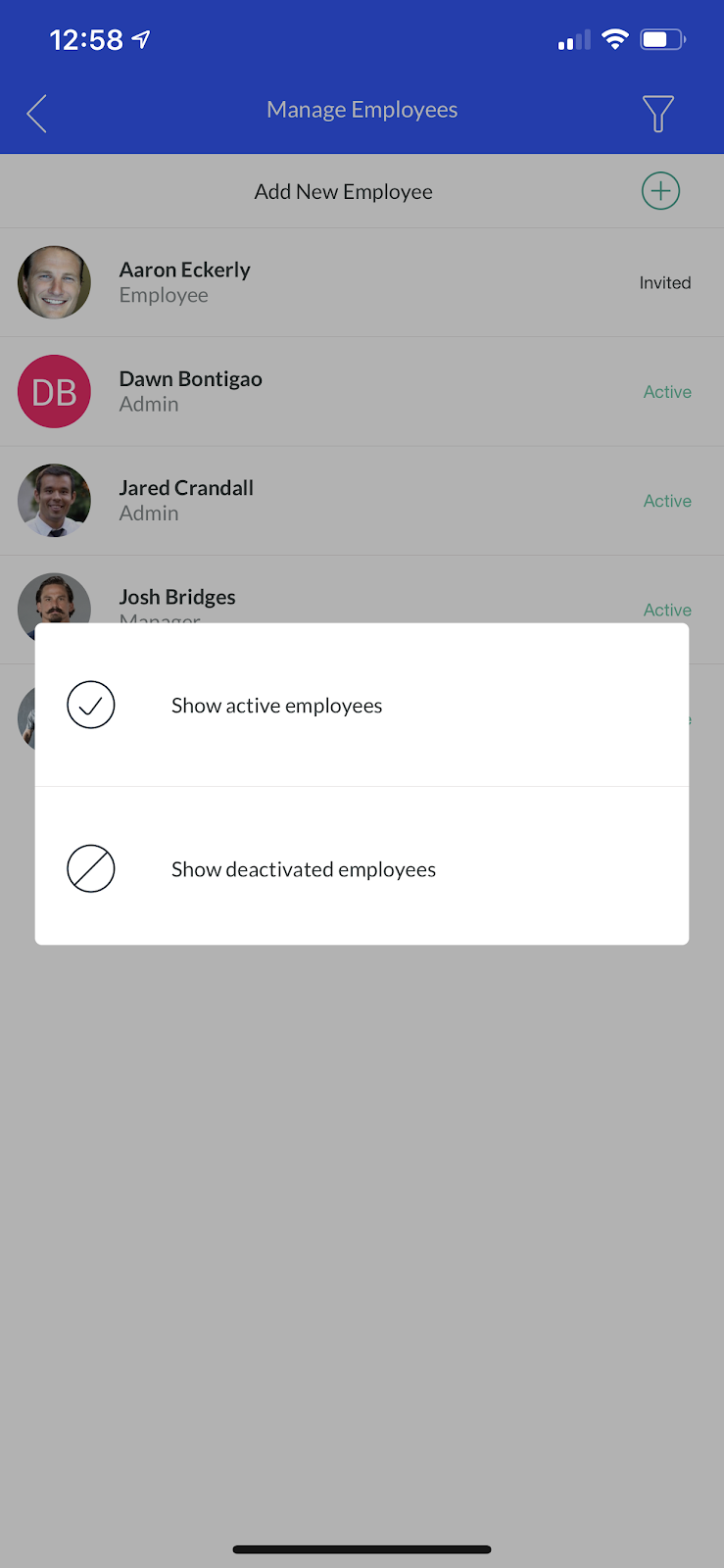 Screenshot showing how to filter your 'Manage Employees' list