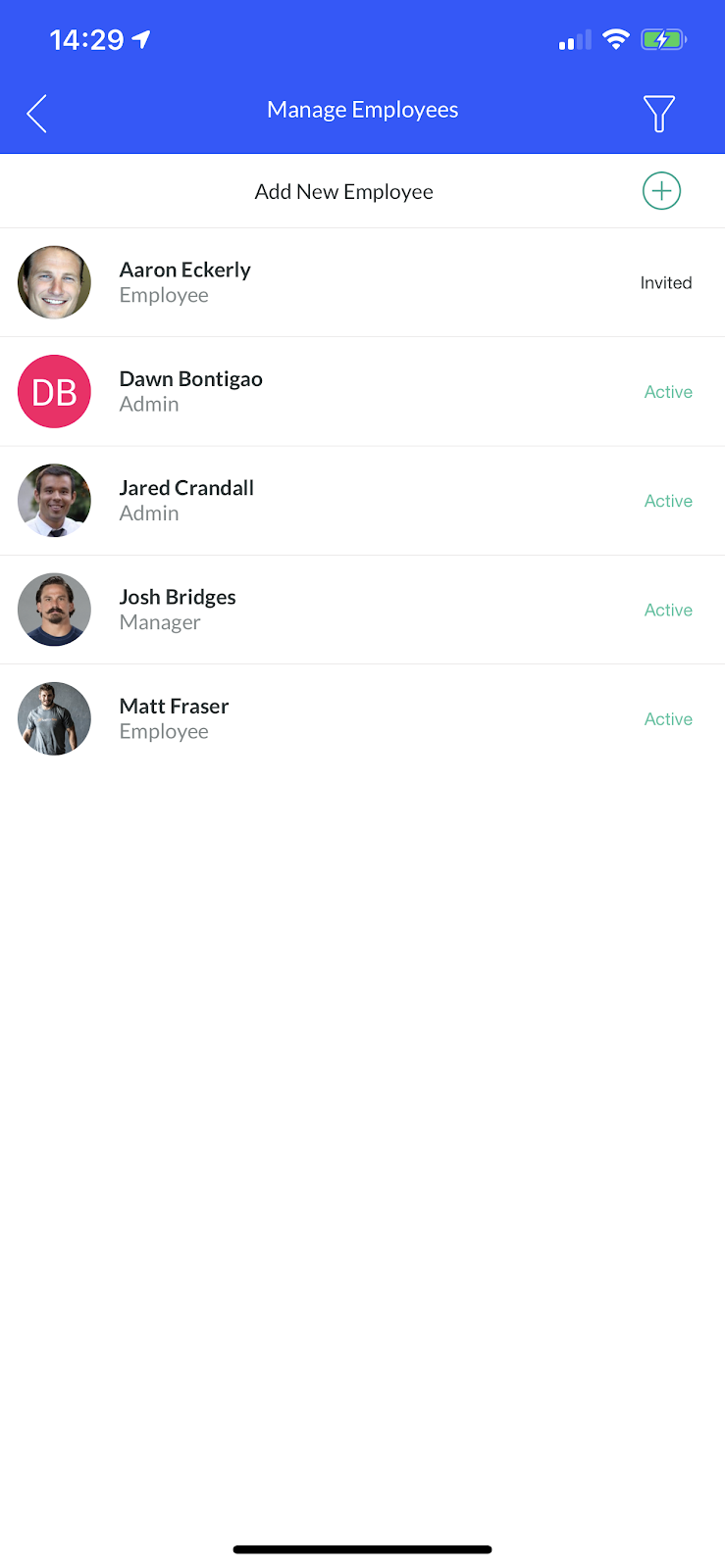 Screenshot showing the 'Manage Employees' section of the mobile app