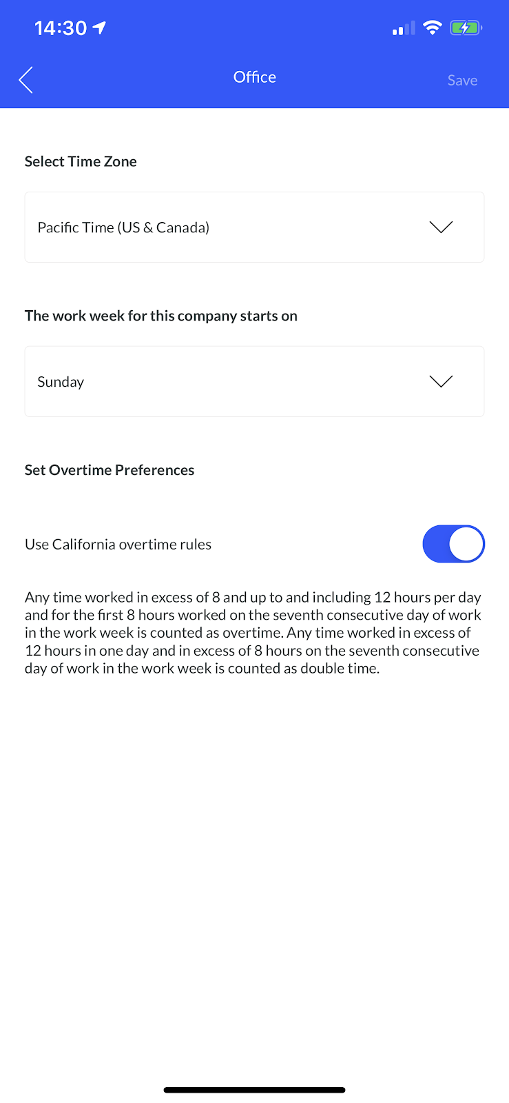 Screenshot showing how to edit office settings within the mobile app