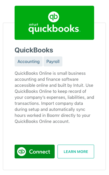 Screenshot showing how to connect to Quickbooks Online and start integration