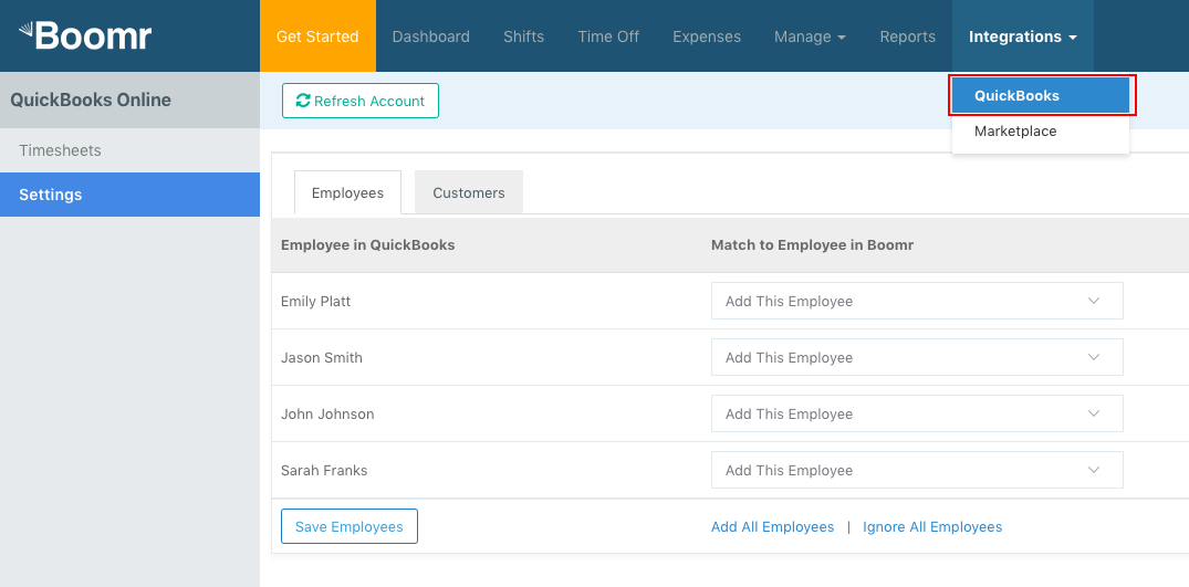 Screenshot showing how to manage your Quickbooks Online integration by clicking the