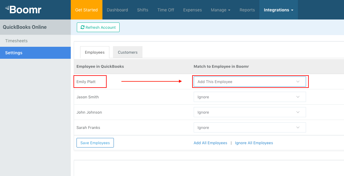 Screenshot showing how to match the employees from QuickBooks Online to the correct employee name in Justworks Hours