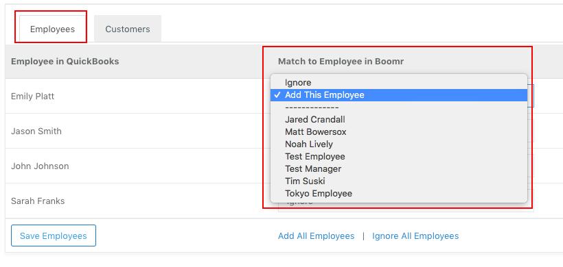 Screenshot showing how to add an employee by selectiing