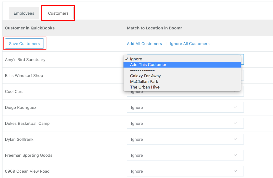 Screenshot showing how to match the customers from QuickBooks Online to the correct Location name in Justworks Hours