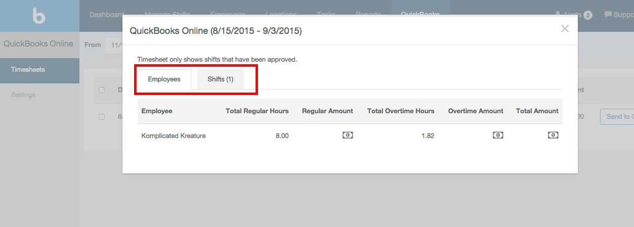 Screenshot showing how to drill down into a report and see a complete summary of hours tracked with Justworks Hours