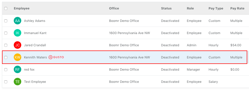 Screenshot showing how deactivated employees appear in your Justworks Hours dashboard