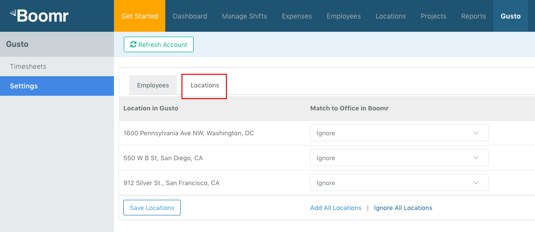 Screenshot showing how to sync Gusto Work Locations to Justworks Hours Offices