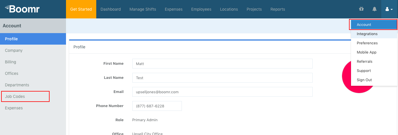 Screenshot showing to add Job Codes by clicking on the Account page, then selecting Job Codes