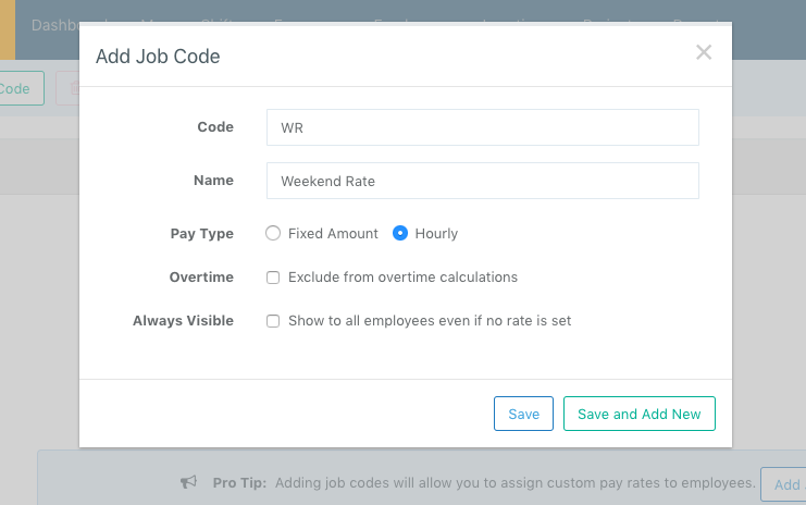Screenshot showing how to name your Job Code and select whether the job is paid on an hourly basis or fixed amount