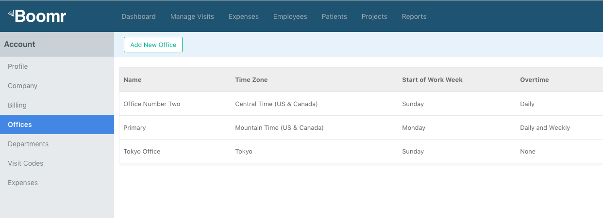 Screenshot showing how to configure offices that have their own unique preferences