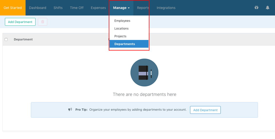 Screenshot showing how to configure Departments