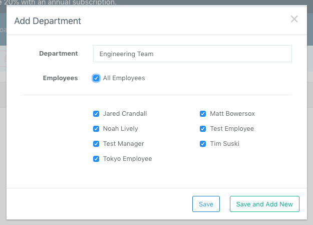 Screenshot showing how to add or edit a Department