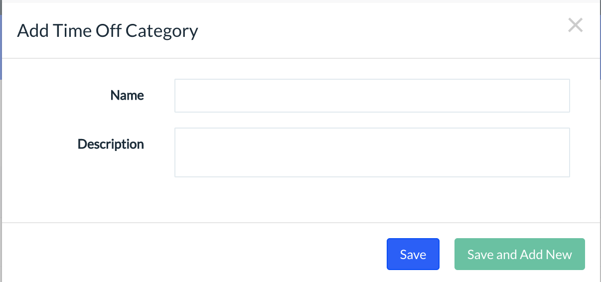 Screenshot showing how to assign a name for Time Off Categories