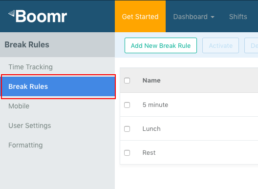 Screenshot showing how to click the option for Break Rules in the left-side menu.