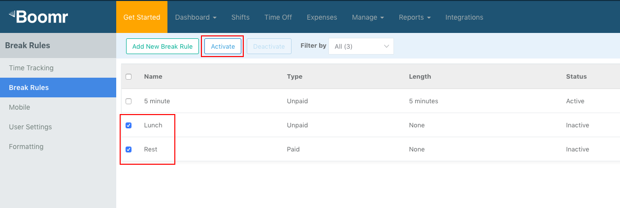 Screenshot showing how to select and activate default Break Rules
