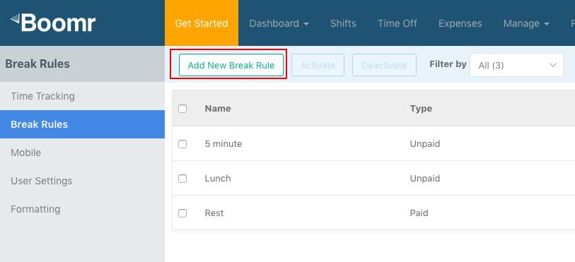 Screenshot showing how to add your own Break Rule by clicking the